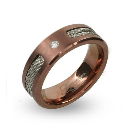 Mens Rose Gold Engravable Titanium Band with CZ & Cable Inlay | Eve's Addiction®