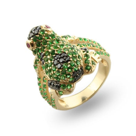 Lucky Green Frog Gold Vermeil Cocktail Ring | Eve's Addiction®