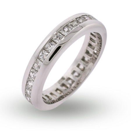 Princess Cut Channel Set CZ Eternity Band | Eve's Addiction®
