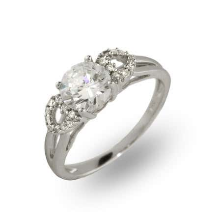 Solitaire 1.25 Carat CZ Ring with Hearts Design