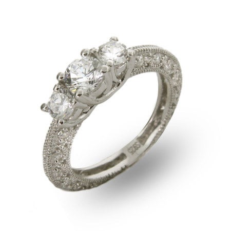 Three Stone Vintage Style CZ Engagement Ring | Eve's Addiction®