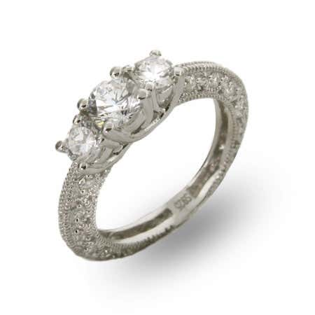 Three Stone Vintage Style CZ Engagement Ring