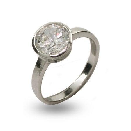 Designer Style Sterling Silver Solitare Bezel Set CZ Ring