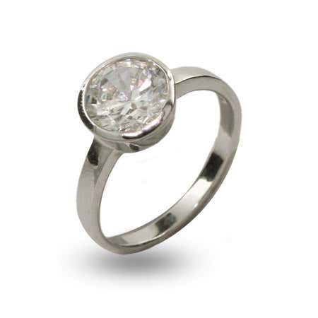 2 Carat Bezel Set Brilliant Cut CZ Ring