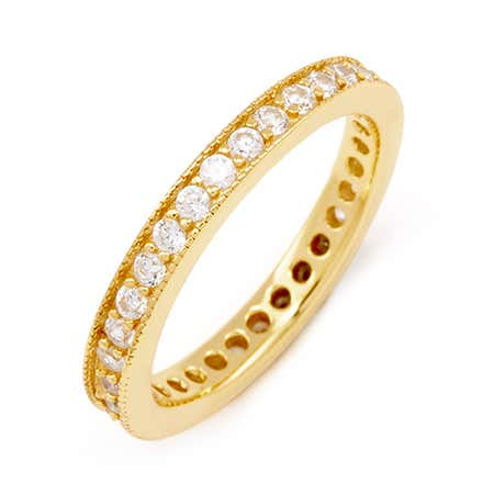 3mm Wide Gold Vermeil Stackable CZ Band with Millgrain Edging