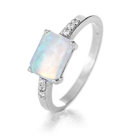 Rectangle Opal and CZ Accented Ring | Eve's Addiction®