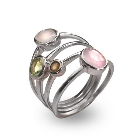 Pastel CZ Stackable Four Ring Set in Sterling Silver | Eve's Addiction®