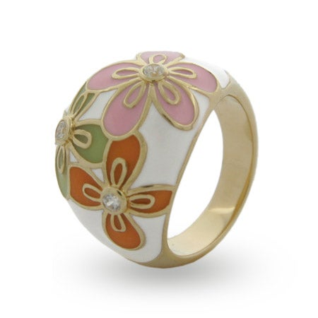 Sterling Silver Vermeil Pastel Enamel Flower Ring | Eve's Addiction®