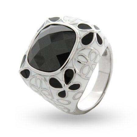 Black & White Butterfly Enamel CZ Ring