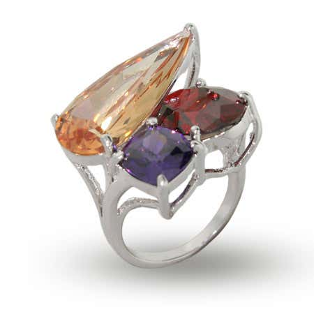 Exotic Brilliant Color Three Stone CZ Cocktail Ring