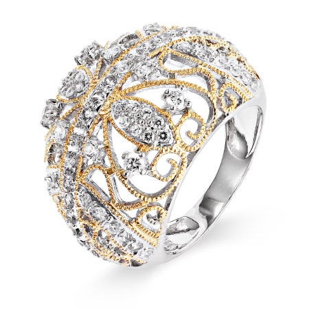 CZ Cocktail Ring with Gold Braid Design | Eve's Addiction®