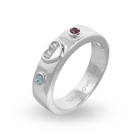 Custom Birthstone Couples Promise Ring in Sterling Silver | Eve's Addiction®