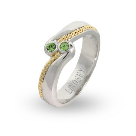 Sterling Silver and Gold Braided Birthstone Couples Ring | Eve's Addiction®