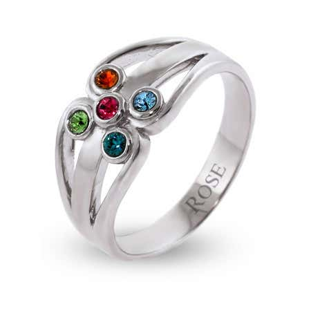 5 Swarovski Crystal Family Birthstone Silver Ring
