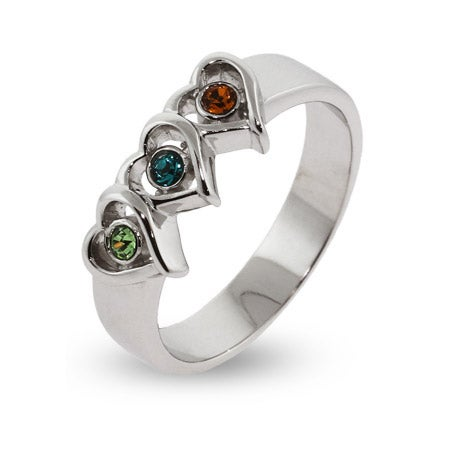 3 Stone Heart Austrian Crystal Mothers Ring in Sterling Silver | Eve's Addiction®