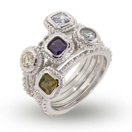 Designer Inspired Five Band CZ Stackable Silver Ring Set | Eve's Addiction®