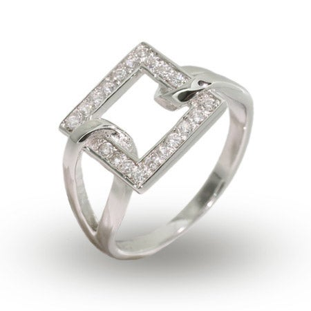 Modern Style Sterling Silver Looped Square CZ Ring   Eve's Addiction®