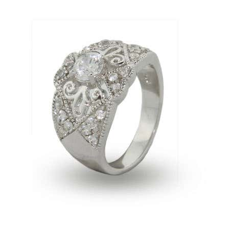 Vintage Heirloom Sterling Silver CZ Ring | Eve's Addiction®
