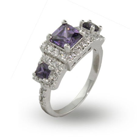 Princess Cut Amethyst Three Stone Ring | Eve's Addiction®