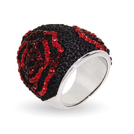 Sterling Silver Swarovski Crystal Black Lava Rose Ring   Eve's Addiction