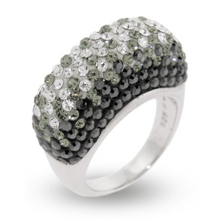 Black and White Swarovski Crystal Sterling Silver Ring | Eve's Addiction®