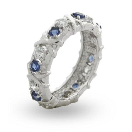 Designer Style Sapphire CZ Sixteen Stone Ring with Silver Xs | Eve's Addiction®