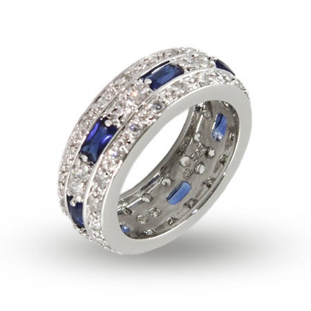 Sterling Silver CZ Anniversary Band with Baguette Sapphire CZs | Eve's Addiction®