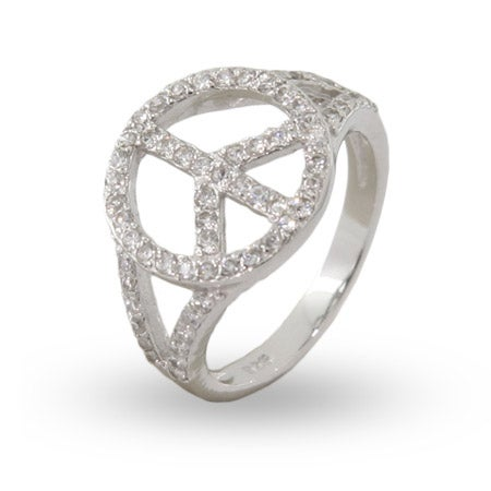 Sterling Silver CZ Peace Sign Ring | Eve's Addiction®