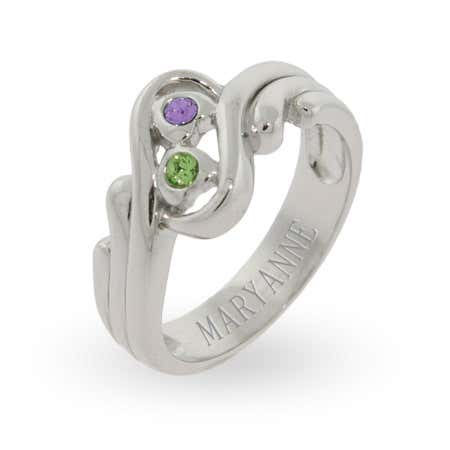 Swirling Couples Promise Ring with Swarovski Crystals