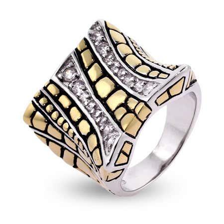 Designer Inspired Gold Bali Design CZ Ring