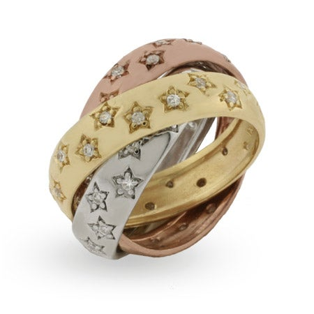 Designer Inspired Triple Tone Triple Roll Ring with CZ Stars | Eve's Addiction®