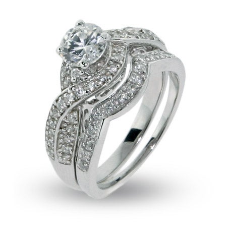 Sparkling Twisted Style CZ Engagement Ring Set | Eve's Addiction®