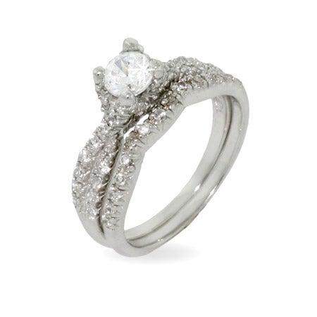 Elegant Engagement Ring Set in Sparkling Twist Design | Eve's Addiction®