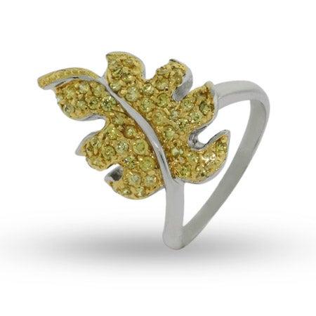 Golden Leaf Sterling Silver Cocktail Ring | Eve's Addiction®
