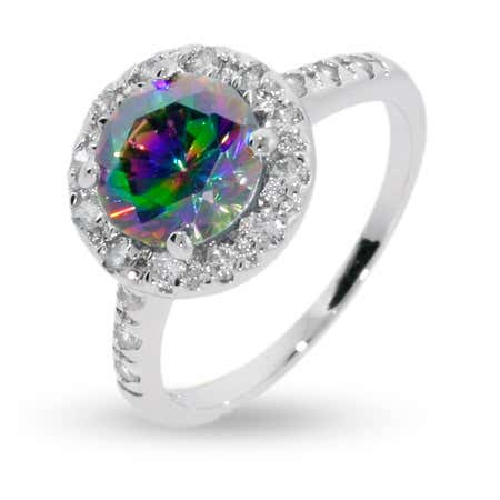 Round Cut Mystic Fire CZ Ring in Sterling Silver