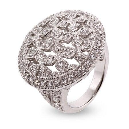 Designer Inspired Cocktail Ring with Vintage Leaf Design | Eve's Addiction®