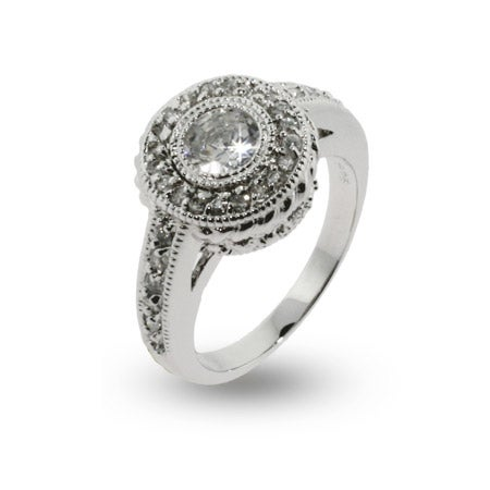Vintage Design Brilliant Cut CZ Engagement Ring | Eve's Addiction®