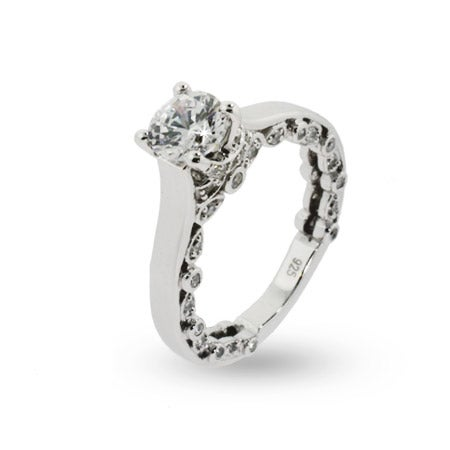 Sparkling Romance CZ Engagement Ring | Eve's Addiction®