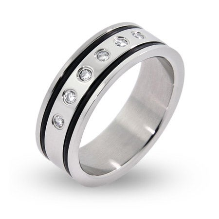 Mens Engravable Double Lined Black Inlay with CZs Stainless Steel Ring | Eve's Addiction®
