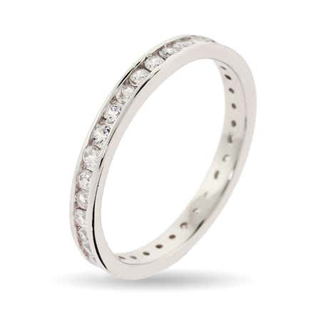 Extra Thin Diamond CZ Stackable Band