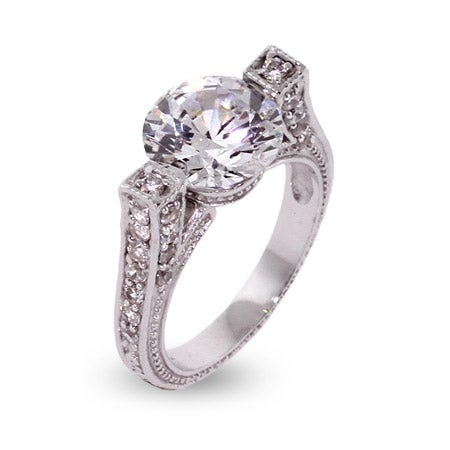 Vintage Style Brilliant Cut CZ Engagement Ring | Eve's Addiction®