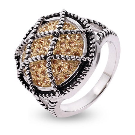 Designer Inspired Pave Champagne CZ Cable Design Ring | Eve's Addiction®