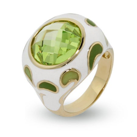 Peridot Paisley Enamel Ring in Gold Vermeil   Eve's Addiction®