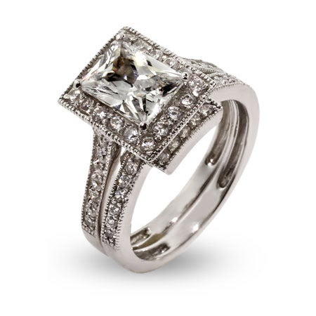 Sophisticated Emerald Cut CZ Engagement Ring Set | Eve's Addiction®