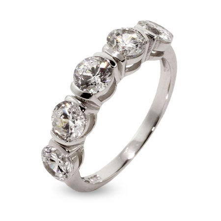 Five Stone Brilliant Cut CZ Sterling Silver Band | Eve's Addiction®
