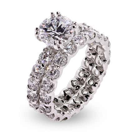Art deco cz engagement ring set with cubic zirconia diamond
