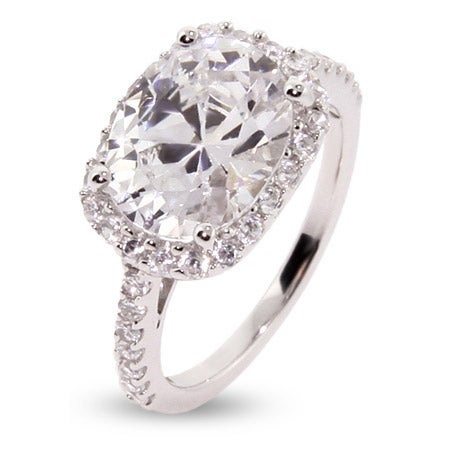 Cubic Zirconia Sterling Silver Oval Ring | Eves Addiction®
