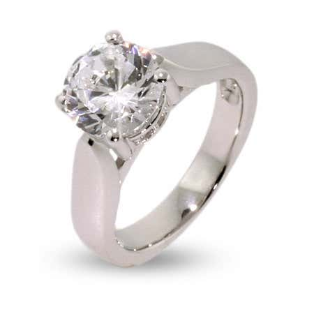 Classic Solitaire 2 Carat Brilliant Cut CZ Ring