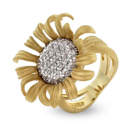 Golden Pave CZ Sunflower Cocktail Ring