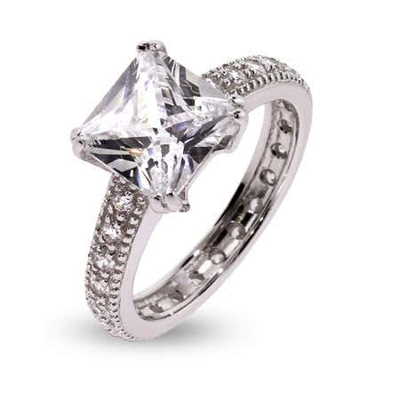 9mm Princess Cut CZ Engagement Ring | Eve's Addiction®